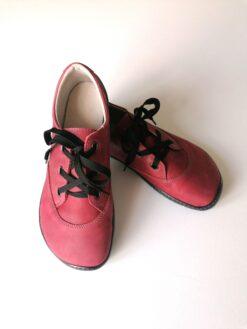 Fare Bare nahast kingad, punane Kevad/sügis - HellyK - Kvaliteetsed lasteriided, villariided, barefoot jalatsid