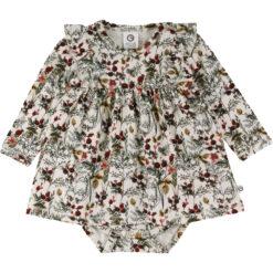 Müsli body-kleit, Winter Flower Green Cotton - HellyK - Kvaliteetsed lasteriided, villariided, barefoot jalatsid