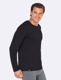 Boody Long Sleeve Crew Neck T-Shirt- Black Meestele - HellyK - Kvaliteetsed lasteriided, villariided, barefoot jalatsid