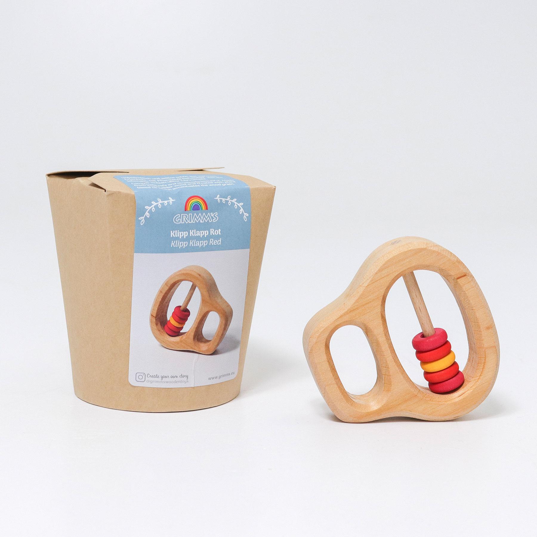 """Grimm´s kõristi """"Klipp-Klapp Red"""" Beebimänguasjad - HellyK - Kvaliteetsed lasteriided, villariided, barefoot jalatsid"""