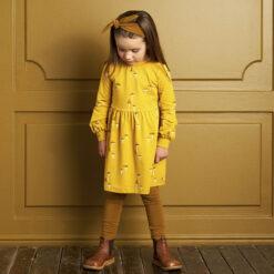 Müsli Chanterelle dress Green Cotton - HellyK - Kvaliteetsed lasteriided, villariided, barefoot jalatsid