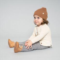 Minimalisma meriinovillane müts, Caramel Lasteriided - HellyK - Kvaliteetsed lasteriided, villariided, barefoot jalatsid