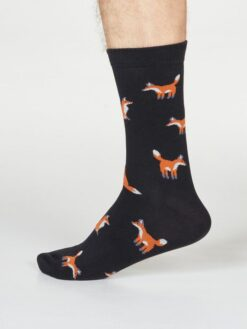 Thought Bambussokid Syd Fox- Black Meestele - HellyK - Kvaliteetsed lasteriided, villariided, barefoot jalatsid