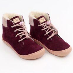 Tikki talvesaapad BEETLE- Amarant Laste barefoot jalatsid - HellyK - Kvaliteetsed lasteriided, villariided, barefoot jalatsid